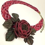 Украшения handmade. Livemaster - original item Burgundy Floral Sketch. Necklace and brooch made of genuine leather. Handmade.