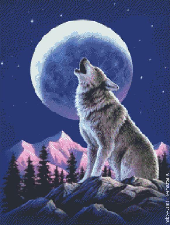 Схема для вышивки черно-белая. волк