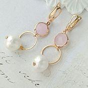 Украшения handmade. Livemaster - original item Long ring earrings with rose quartz and pearls. Handmade.