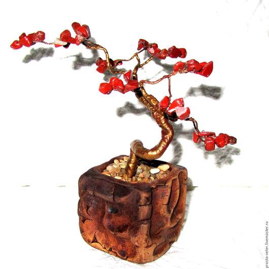 Бонсай ручной работы. Ярмарка Мастеров - ручная работа. Купить Бонсай Родом из Китая. Handmade. Рыжий, бонсай из камней, проволока