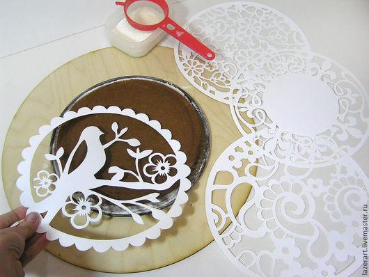 Кухня ручной работы. Ярмарка Мастеров - ручная работа. Купить Трафареты для торта. Handmade. Белый, птичка, трафареты для торта