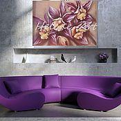 """Картина маслом """"Прекрасные орхидеи"""" 50х70 (цветы, фиолетовый)"""