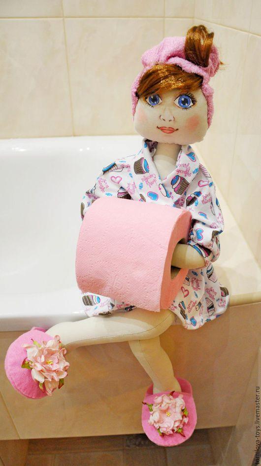 Ванная комната ручной работы. Ярмарка Мастеров - ручная работа. Купить Кукла - держатель для туалетной бумаги. Handmade. Розовый, кукла