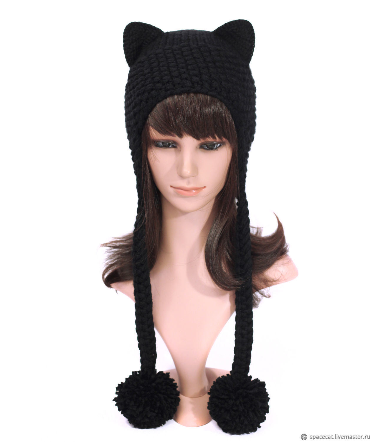 Hat with Cat ears knitted women's black, Caps, Orenburg,  Фото №1