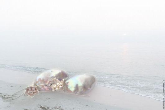 """Серьги ручной работы. Ярмарка Мастеров - ручная работа. Купить """"Морские цветы"""" серебряные серьги с барочным жемчугом суфле. Handmade."""