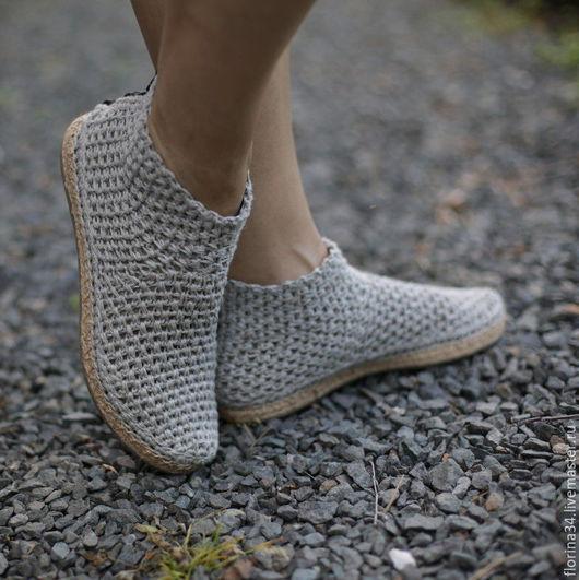 Обувь ручной работы. Ярмарка Мастеров - ручная работа. Купить Сапожки уличные серые, лен, р.37.5. Handmade.