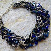 """Украшения handmade. Livemaster - original item Choker-braid with natural stones """" the Night sky"""". Handmade."""
