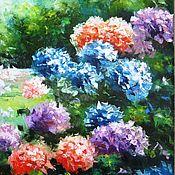 Картина маслом на холсте. Цветы. Летний пейзаж. Картина с цветами.