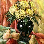 Картины и панно ручной работы. Ярмарка Мастеров - ручная работа Картина маслом Желтые хризантемы в черной вазе. Handmade.