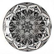 """Посуда ручной работы. Ярмарка Мастеров - ручная работа Черным по белому. Тарелка из коллекции """"Моноххромный калейдоскоп"""". Handmade."""