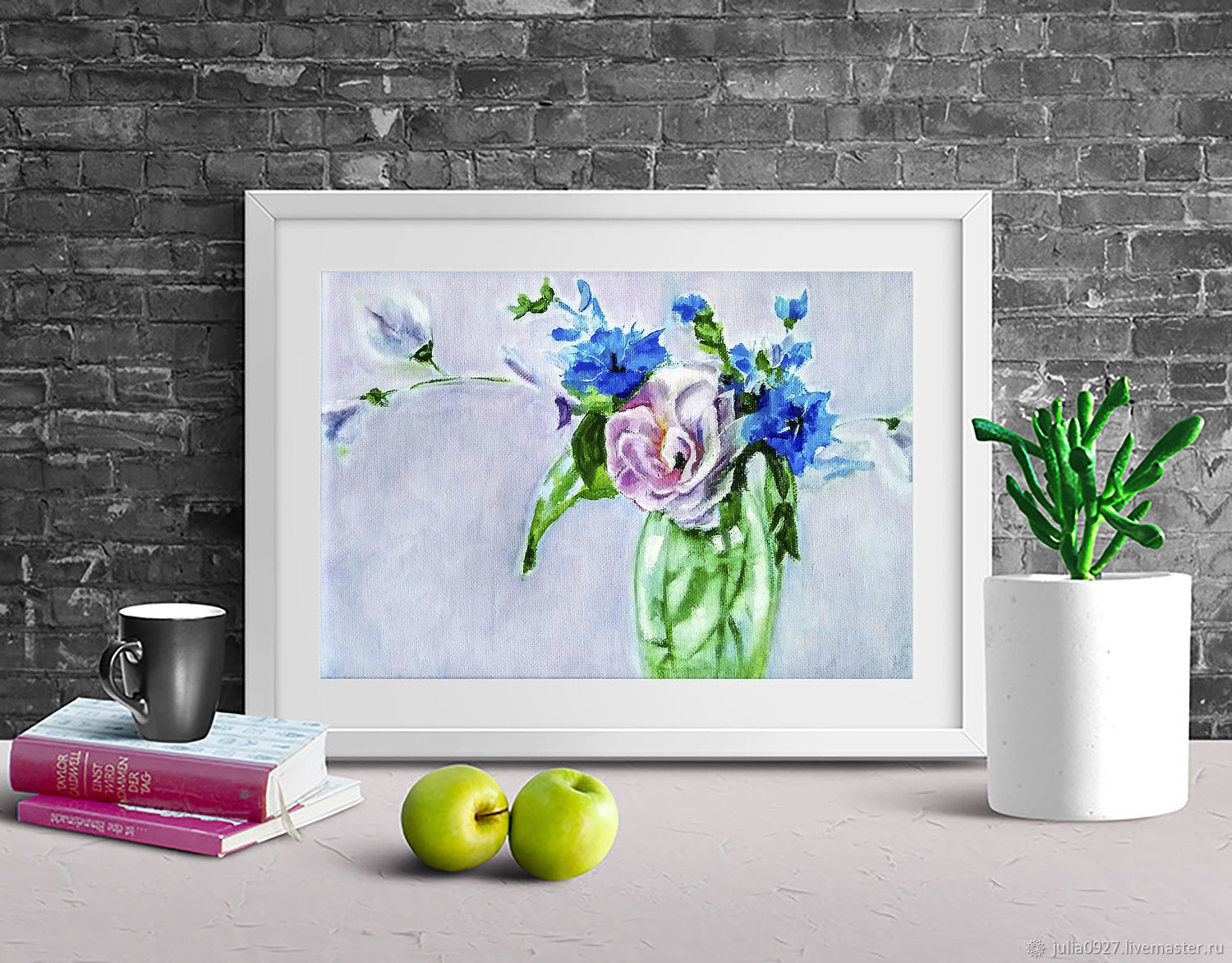 Oil painting Bouquet with forget-me-nots in a vase in a frame, Pictures, Ekaterinburg,  Фото №1