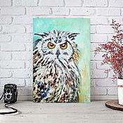 Картины и панно handmade. Livemaster - original item The picture of the Owl, wise owl, oil, palette knife. Handmade.