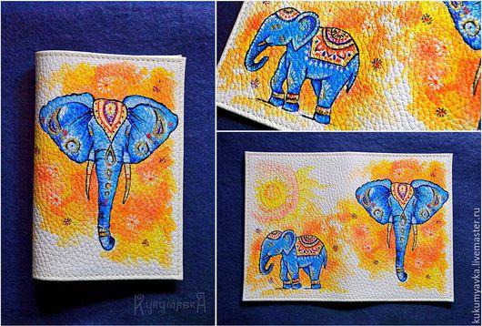 Обложки ручной работы. Ярмарка Мастеров - ручная работа. Купить Индийский слон.Обложка на паспорт с ручной росписью. Handmade. голубой
