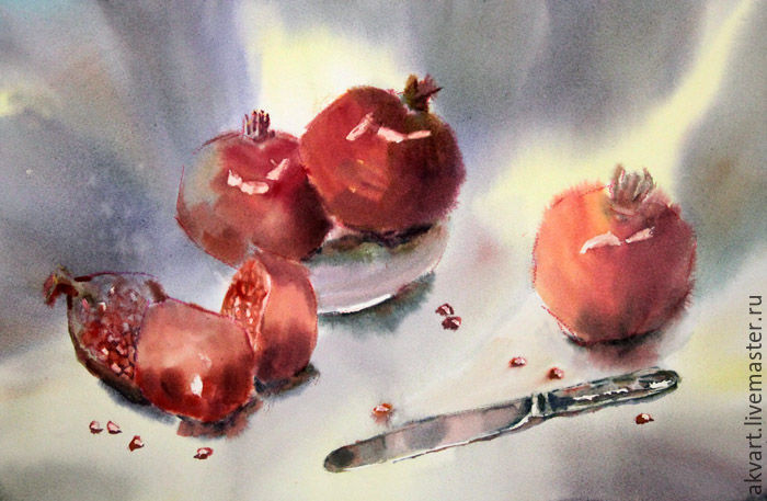 Painting watercolor. still life with pomegranates, Pictures, Moscow,  Фото №1