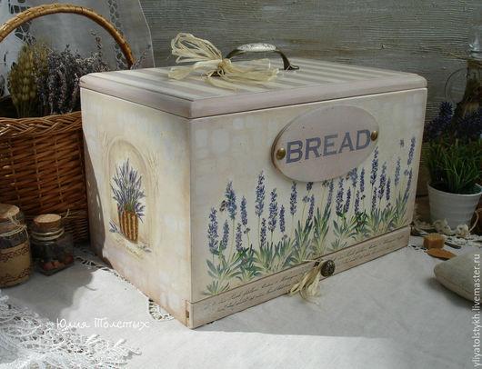 """Кухня ручной работы. Ярмарка Мастеров - ручная работа. Купить Хлебница """"Лаванда под окном"""". Handmade. Кремовый, купить хлебницу"""