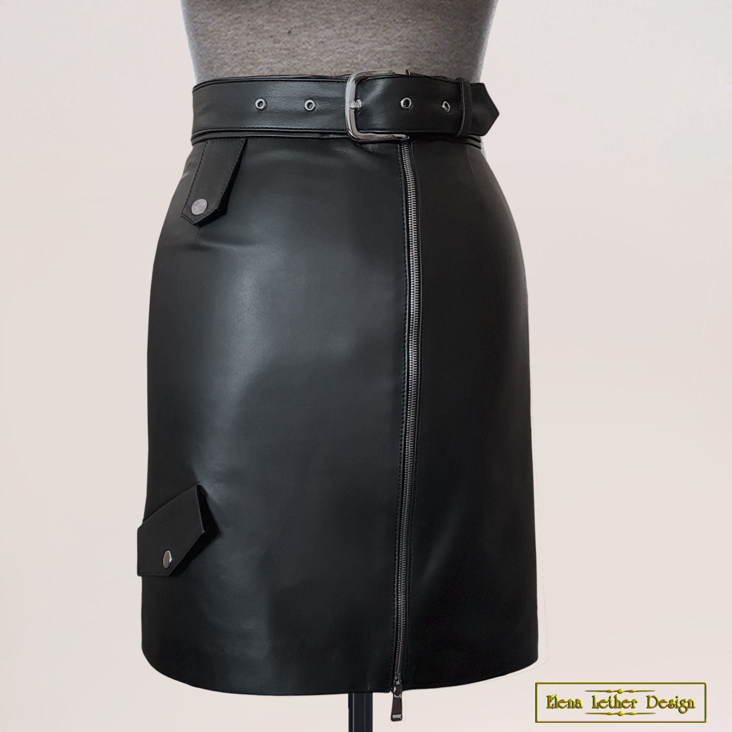 Straight skirt with a belt 'Modern style' from nature. skins, Skirts, Rodniki,  Фото №1