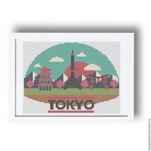"""Вышивка ручной работы. Ярмарка Мастеров - ручная работа. Купить Схема для вышивки крестом """"Токио"""". Handmade. Комбинированный, разноцветный, дома"""