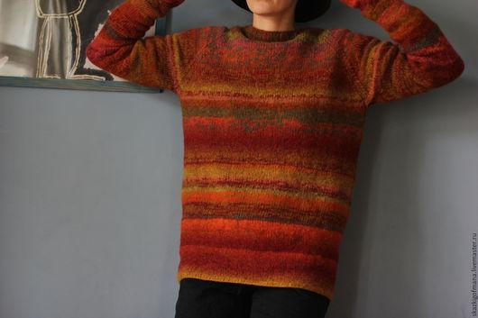 Кофты и свитера ручной работы. Ярмарка Мастеров - ручная работа. Купить Шерстяной свитер Рыжик. Handmade. Рыжий, оверсайз, лимбажу