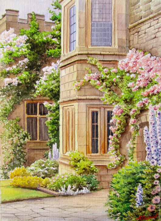 Город ручной работы. Ярмарка Мастеров - ручная работа. Купить Старый дом. Handmade. Комбинированный, цветы, розовые розы, Живопись
