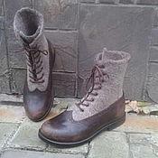 Обувь ручной работы. Ярмарка Мастеров - ручная работа Валяные ботинки с натуральной кожей ДЕКАБРЬ. Handmade.