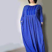 """Одежда ручной работы. Ярмарка Мастеров - ручная работа """"Синий горошек"""" Платье из штапеля art 1055d. Handmade."""
