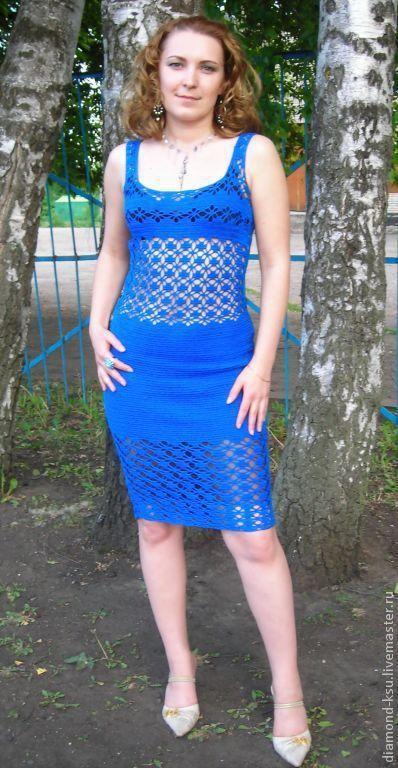 """Платья ручной работы. Ярмарка Мастеров - ручная работа. Купить Вязаное крючком платье  """"Синева"""". Handmade. Летнее платье"""