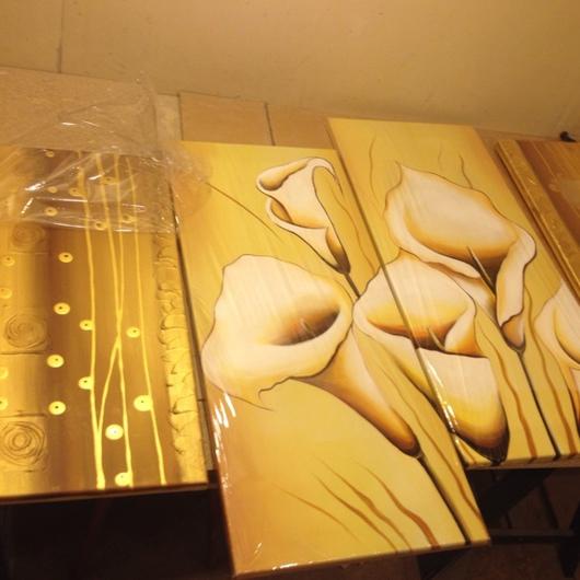 """Картины цветов ручной работы. Ярмарка Мастеров - ручная работа. Купить Модульная картина """"калы и золото"""". Handmade. Модульная картина"""