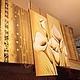 """Картины цветов ручной работы. Заказать Модульная картина """"калы и золото"""". Хороший момент (bacara). Ярмарка Мастеров. Картина маслом"""