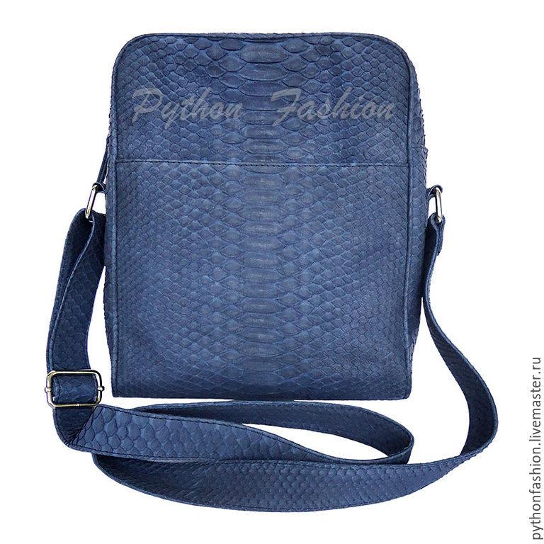 Handbag made of Python skin. Comfortable men's bag made of Python zip. Men's stylish bag on the shoulder strap. Bag made of Python. Men's document bag. Pimonova bag for phone.