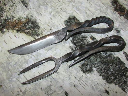Субкультуры ручной работы. Ярмарка Мастеров - ручная работа. Купить Цельнокованные нож и вилка. Handmade. Сталь, быт, стальной, сталь