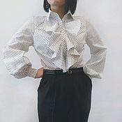 Блузки ручной работы. Ярмарка Мастеров - ручная работа Белая блузка в горошек. Handmade.