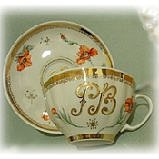 Tea & Coffee Sets handmade. Livemaster - original item Elegant Tea pair of porcelain with your initials -2. Handmade.