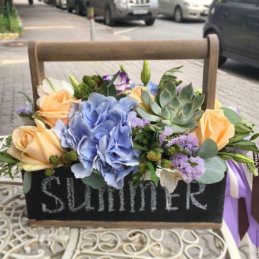 """Букеты ручной работы. Ярмарка Мастеров - ручная работа. Купить Ящик с цветами """"Лето"""". Handmade. Букет цветов, цветы в подарок"""