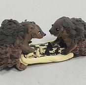 """Сувениры и подарки ручной работы. Ярмарка Мастеров - ручная работа композиция """"Игра в шахматы"""" (лесные звери). Handmade."""