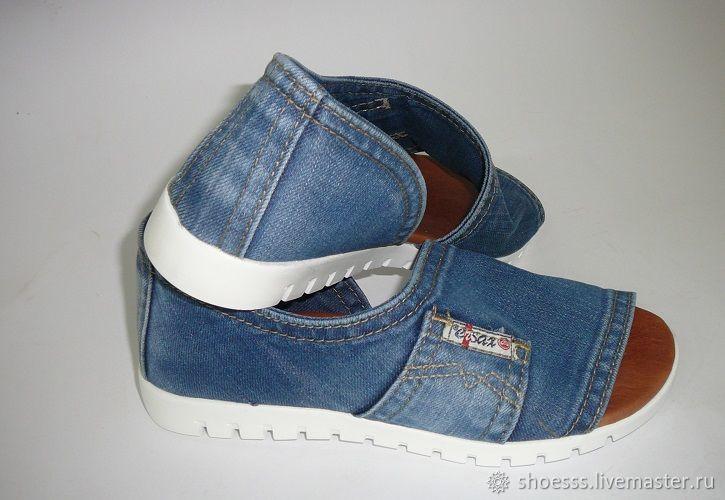8ce573244 ручной работы. Ярмарка Мастеров - ручная работа. Купить Женские новые  джинсовые сандалии, босоножки ...