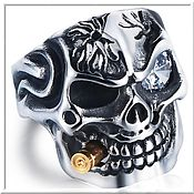 Украшения handmade. Livemaster - original item Men`s Skull ring No. 5 steel. Handmade.