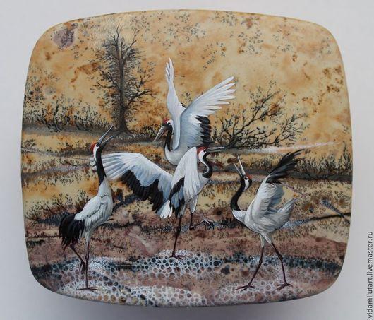 Роспись по камню ручной работы. Ярмарка Мастеров - ручная работа. Купить Стая журавлей. Handmade. Разноцветный, розовый, птицы, птица