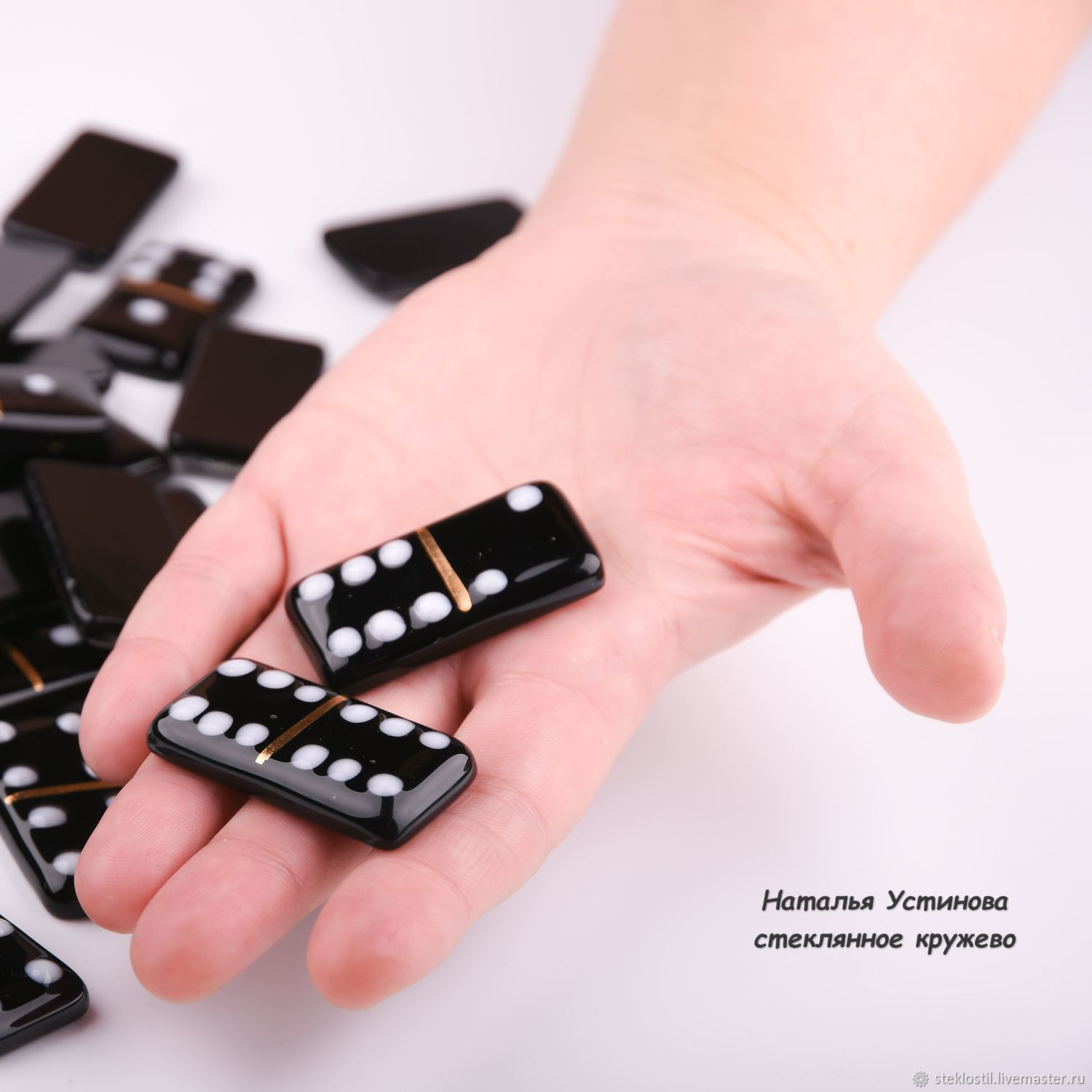 Dominoes - Board game glass - black, fusing – shop online on ...