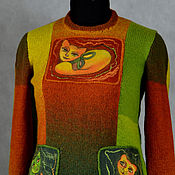 """Одежда ручной работы. Ярмарка Мастеров - ручная работа свитер вязаный комбинированный """"Кошки. Любовный треугольник-2"""". Handmade."""