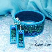 """Украшения ручной работы. Ярмарка Мастеров - ручная работа Серьги, браслет, комплект """"Синяя волна"""". Handmade."""