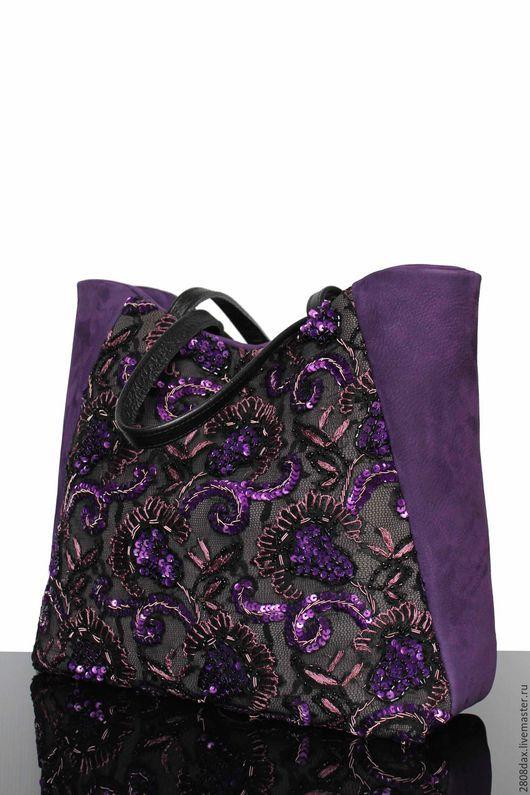 """Женские сумки ручной работы. Ярмарка Мастеров - ручная работа. Купить """"Incognito"""" Замшевая сумка, черная сумка, черничный, сумка на выход. Handmade."""