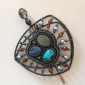 Украшения handmade. Livemaster - original item Brooch-buckle 5 in 1 with turquoise, kyanite, mother of pearl, pearl. Handmade.