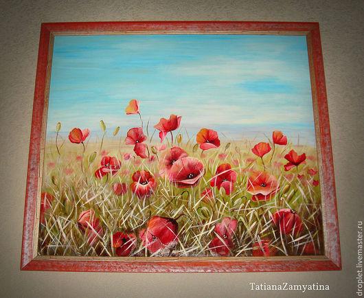 """Картины цветов ручной работы. Ярмарка Мастеров - ручная работа. Купить Картина """"Маковое поле"""". Handmade. Стекло, красный, для интерьера"""