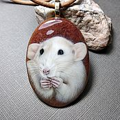 Украшения handmade. Livemaster - original item Pendant: Pendant with a lacquer miniature Rat 2. Handmade.