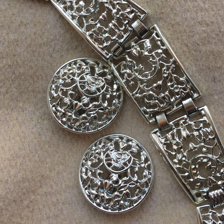 Винтаж: Винтаж: Sarah Coventry . Frozen lace. винтажный набор: браслет и серьги, Винтажные комплекты украшений, Краснодар, Фото №1