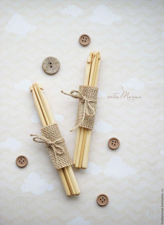 Вязание ручной работы. Ярмарка Мастеров - ручная работа. Купить Набор бамбуковых крючков (7 шт). Handmade. Бежевый, бамбук