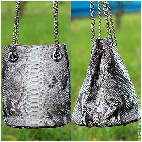 Handbags handmade. Livemaster - handmade. Buy Handbag Barrel of the Python on the chain of Naturally-gray.