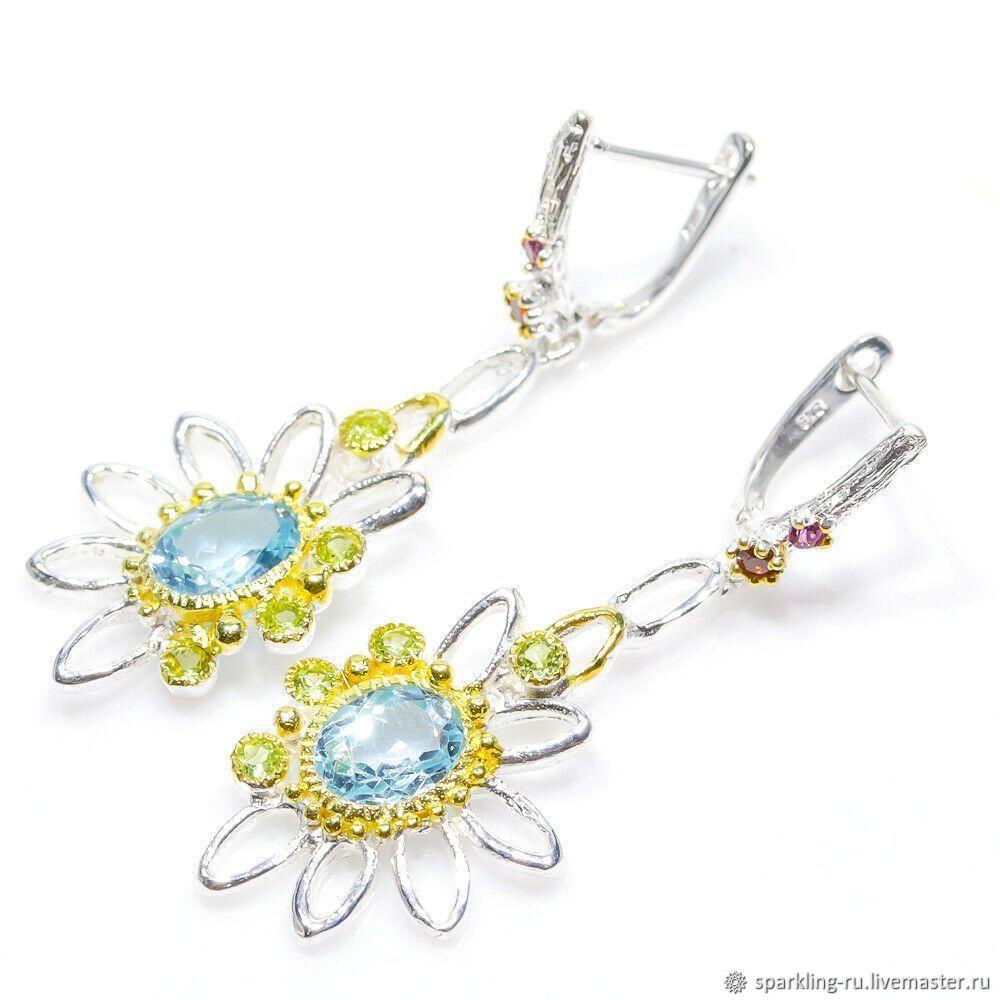 Large long earrings Topaz silver, Earrings, Moscow,  Фото №1