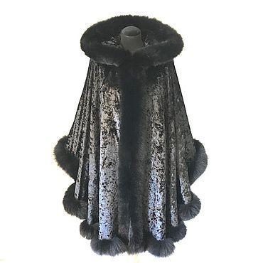 Одежда ручной работы. Ярмарка Мастеров - ручная работа Пончо: пальто бархатное с мехом. Handmade.