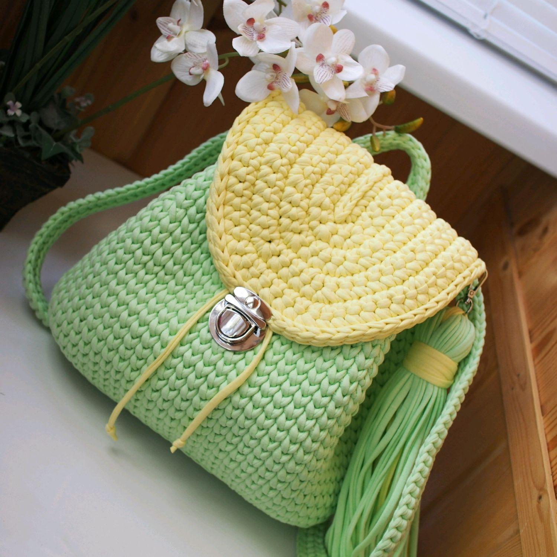 bf6d2f3c141f Рюкзаки ручной работы. Ярмарка Мастеров - ручная работа. Купить Вязаный  женский рюкзак мятный и ...